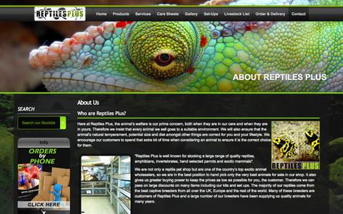 Screenshot of About Page reptilesplus.co.uk - Reptiles Plus - About Us - captured Nov. 1, 2014