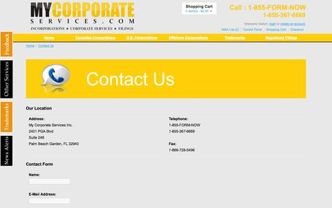 Screenshot of Support Page mycorporateservices.com - Contact Us - captured Oct. 26, 2014