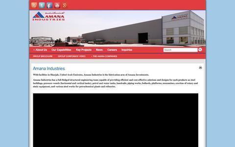 Screenshot of Home Page amanaindustries.com - Amana Industries - captured Sept. 10, 2015