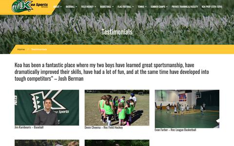 Screenshot of Testimonials Page koasports.org - Montgomery County Youth Sports With Koa Sports League - captured Nov. 6, 2018
