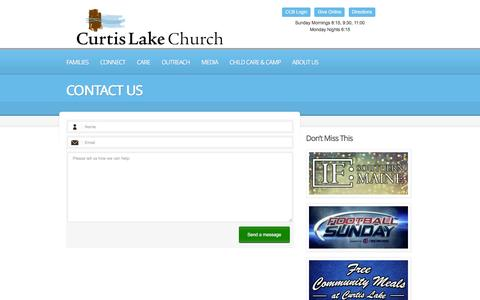 Screenshot of Contact Page curtislake.org - Contact Us     Curtis Lake Christian Church   Finding hope, Developing faith, Leading with love. - captured Feb. 2, 2016