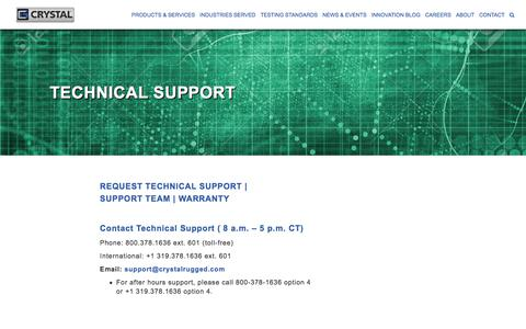 Screenshot of Support Page crystalrugged.com - Technical Support | Crystal Group - captured Sept. 17, 2017