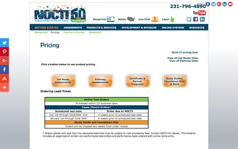 Screenshot of Pricing Page nocti.org - NOCTI - captured Aug. 14, 2016