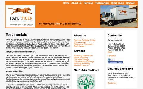 Screenshot of Testimonials Page yourpapertiger.com - Testimonials | Paper Tiger Document Solutions - captured Oct. 1, 2014
