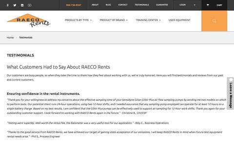 Screenshot of Testimonials Page raecorents.com - Testimonials  | RAECO Rents - captured June 18, 2017