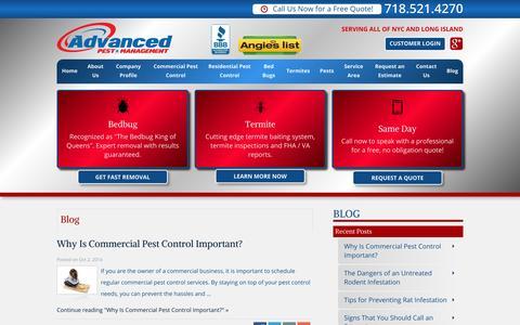 Screenshot of Blog advancedexterminating.com - Advanced Pest Management Exterminating Blog - captured Oct. 4, 2014