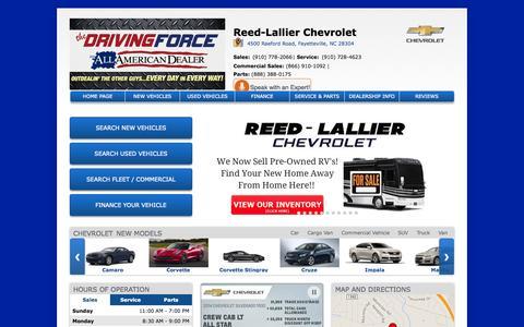 Screenshot of Home Page reedlallier.com - Reed-Lallier Chevrolet in Fayetteville| Sanford & Fort Bragg Chevrolet Dealer - captured Oct. 8, 2014
