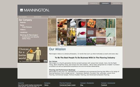 Screenshot of About Page mannington.com - US Manufacturer, American Family-Owned - Mannington Flooring - captured Sept. 19, 2014
