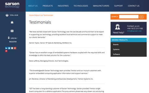 Screenshot of Testimonials Page sarsen.net - Testimonials - Sarsen Technology - captured Nov. 5, 2016