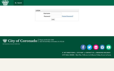 Screenshot of Login Page coronado.ca.us - Login - captured Sept. 2, 2016