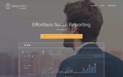 Screenshot of Home Page wiselytics.com - Social Media Analytics Software   Wiselytics - captured Jan. 11, 2016