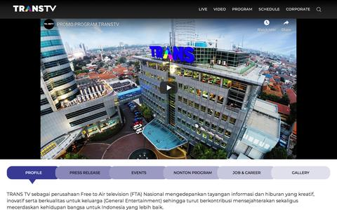 Screenshot of About Page transtv.co.id - Trans TV - Profile Corporate, Live Streaming TV & Jadwal Acara TV - captured Dec. 27, 2019