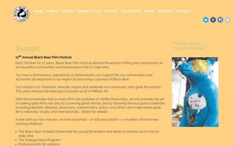 Screenshot of Support Page blackbearfilm.com - Support | Black Bear Film Festival - captured Nov. 22, 2016