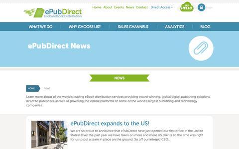 Screenshot of Press Page epubdirect.com - ePubDirect - Global eBook Distribution - News - captured Sept. 16, 2014