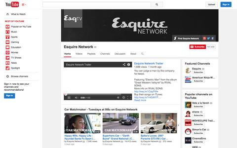 Screenshot of YouTube Page youtube.com - Esquire Network  - YouTube - captured Oct. 22, 2014