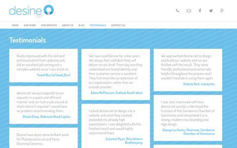 Screenshot of Testimonials Page desine.net - Testimonials   desine - web and graphic design Cornwall - captured Oct. 13, 2017