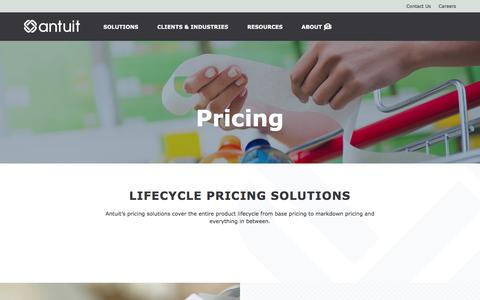Screenshot of Pricing Page antuit.com - Pricing | Antuit - captured July 26, 2016