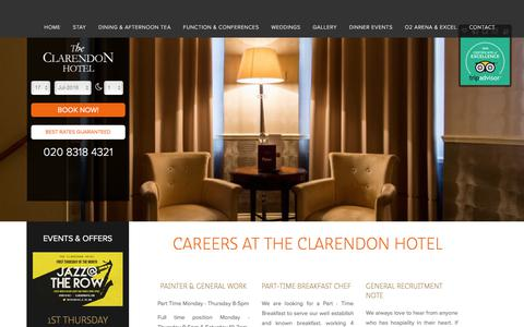 Screenshot of Jobs Page clarendonhotel.com - Careers at The Clarendon Hotel | Blackheath, Royal Greenwich, London - captured July 18, 2018