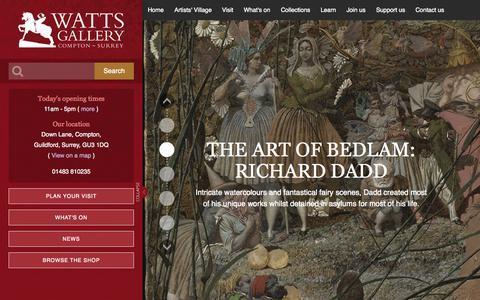 Screenshot of Home Page wattsgallery.org.uk - Home - Watts Gallery - captured Aug. 14, 2015