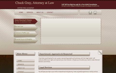 Screenshot of Home Page cpgraylaw.com - Chuck Gray, Attorney at Law - captured Jan. 28, 2016