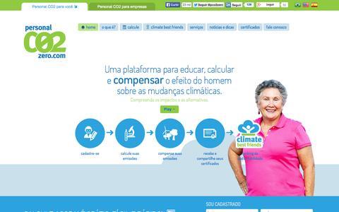 Screenshot of Menu Page personalco2zero.com - Créditos de Carbono, Compensação, Neutralização de Emissões - captured Oct. 2, 2014