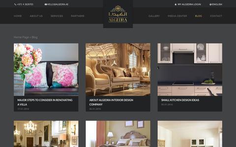 Screenshot of Blog algedra.ae - Blog and Updates - ALGEDRA Interior & Exterior Designs - captured Jan. 17, 2016