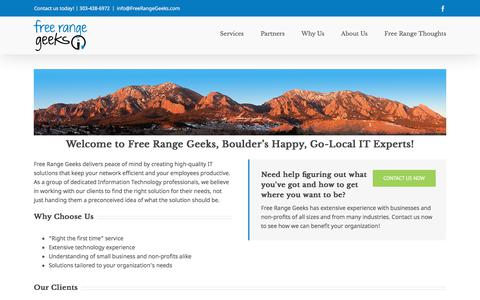 Screenshot of Home Page freerangegeeks.com - Home - captured Aug. 22, 2018