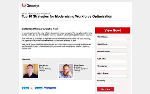 Screenshot of Landing Page genesys.com - Multi-Channel Workforce Management   WFO Webinar   Genesys - captured Aug. 17, 2016
