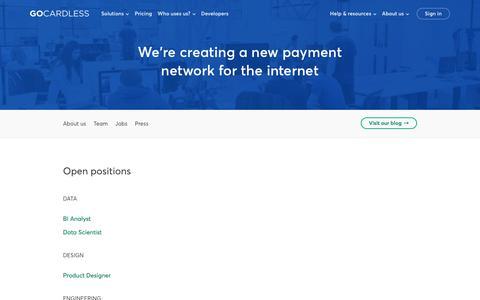 Screenshot of Jobs Page gocardless.com - Jobs - GoCardless - captured April 23, 2018
