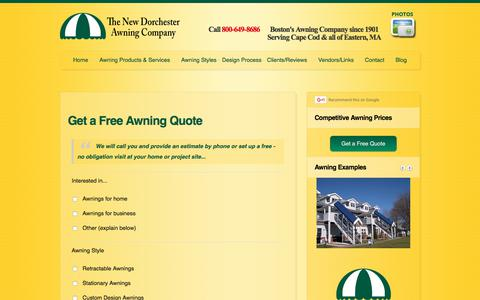 Screenshot of Contact Page dorchesterawning.com - Get a Free Awning Quote - captured June 5, 2017