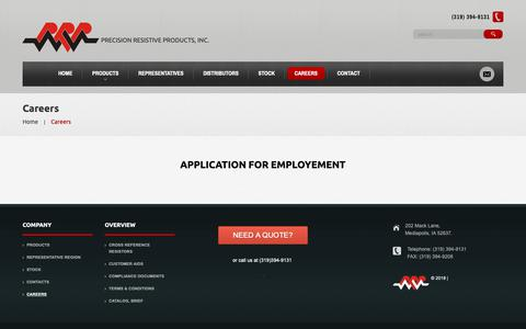Screenshot of Jobs Page prpinc.com - Careers     Precision Resistive Products - captured Sept. 29, 2018