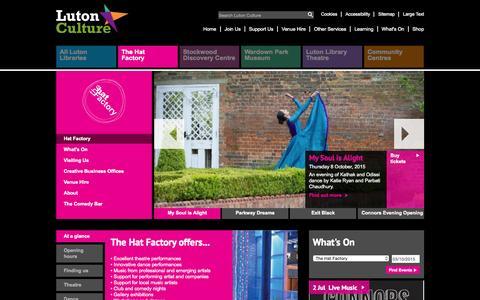 Screenshot of lutonculture.com - Luton Culture - Hat Factory - captured Oct. 2, 2015