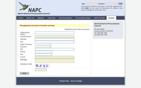 Screenshot of Login Page napc.pro - Contact The North America Procurement Council - captured Oct. 31, 2014
