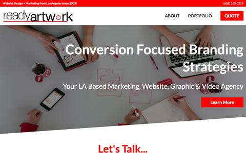 Screenshot of Home Page readyartwork.com - Los Angeles Website Design & Social Media Marketing Company | Website Design + Marketing from Los Angeles since 2003! - captured June 10, 2017