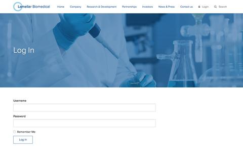 Screenshot of Login Page lamellar.com - Log In - Lamellar Biomedical - captured Feb. 21, 2016