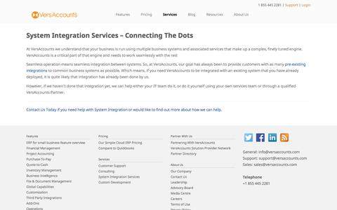Screenshot of Services Page versaccounts.com - System Integration Services - captured Feb. 27, 2016