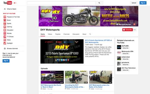 Screenshot of YouTube Page youtube.com - DHY Motorsports  - YouTube - captured Oct. 26, 2014