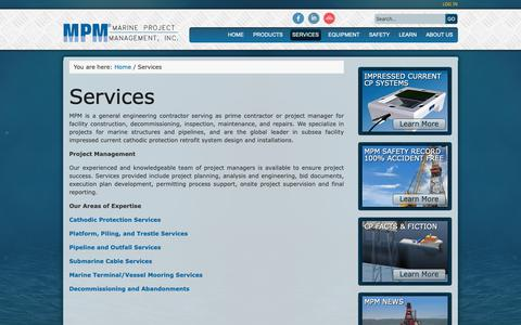Screenshot of Services Page mpmi.com - MPM - General Engineering and Project Management Services for Offshore Facility Projects | Marine Project Management, Inc - captured Oct. 2, 2018