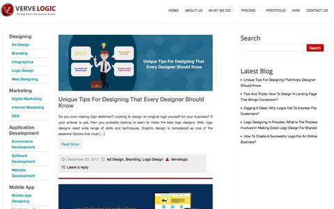 Screenshot of Blog vervelogic.com - VerveLogic Blog   Web Design India and Internet marketing company India - captured Jan. 1, 2018