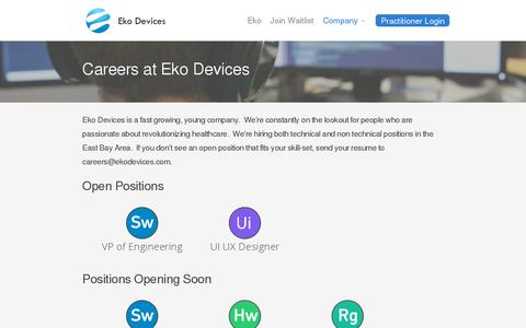 Screenshot of Jobs Page ekodevices.com - Careers | Eko Devices » The Worlds Most Intelligent Stethoscope - captured July 19, 2014