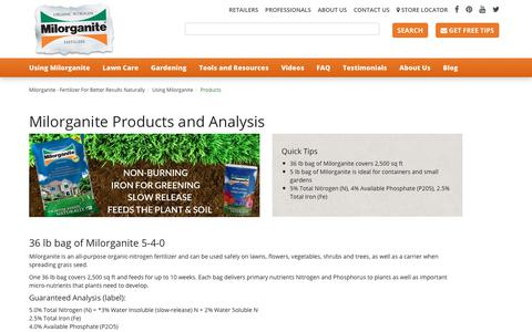 Screenshot of Products Page milorganite.com - Products - captured Nov. 8, 2017