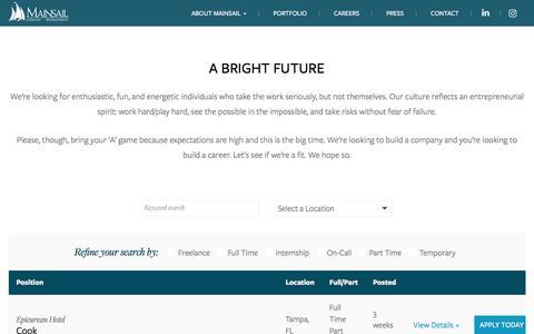 Screenshot of Jobs Page mainsailhotels.com - Job Postings | Mainsail Lodging & Development - captured Oct. 5, 2017
