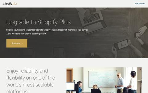 Screenshot of Landing Page shopify.com - Upgrade to Shopify Plus - captured Aug. 25, 2016