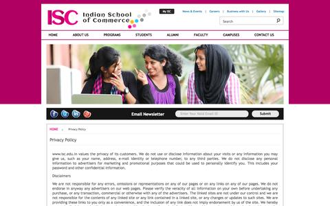 Screenshot of Privacy Page isc.edu.in - ISC - Indian School of Commerce - captured Oct. 4, 2014