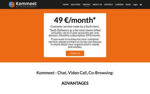 Screenshot of Pricing Page kommeet.com - Pricing. Kommeet - Chat, Video Call, Co-Browsing - captured Nov. 27, 2016