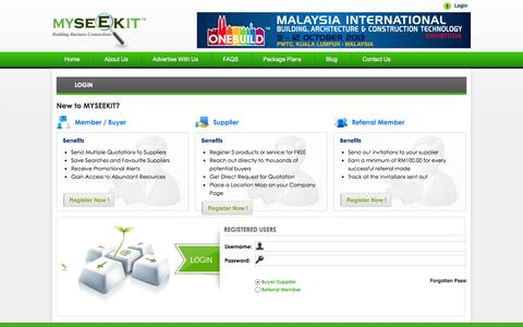 Screenshot of Login Page myseekit.com - Malaysia Building, Architectural and Construction Directory - captured Sept. 16, 2014