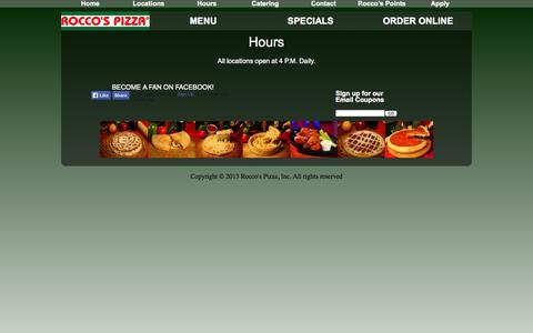 Screenshot of Hours Page roccospizza.com - Hours - captured Oct. 9, 2014