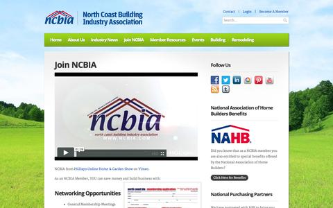 Screenshot of Signup Page ncbia.com - NCBIA – North Coast Building Industry Association » Join NCBIA - captured Oct. 26, 2014