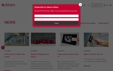 Screenshot of Press Page idesco.fi - News - IDESCO - captured Oct. 11, 2018