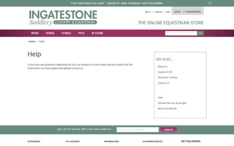 Screenshot of Support Page ingatestonesaddlery.co.uk - Help - captured Dec. 19, 2018